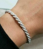 1.50Ct Round Cut Diamond Paveflex Flex Cuff Bracelet 14K White Gold Finish