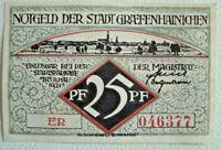 """GRAEFENHAINICHEN Sachsen-Anhalt Stadt Notgeld 25 Pfennig """"ER"""" 1921 (2800)"""