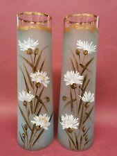 paire d anciens vases en verre décor Floral émaillé style Legras art nouveau ...