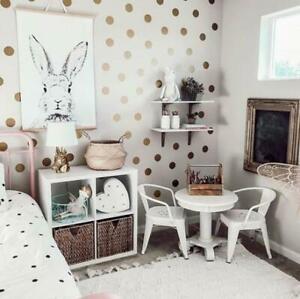 Gold Polka Dot Shape Wall Stickers Spots Dots Circle Decal Kids Bedroom Nursery