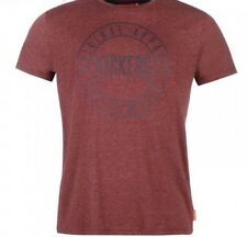 Kickers Men's Chest Print T Shirt Short Sleeved Tee Burgundy XL