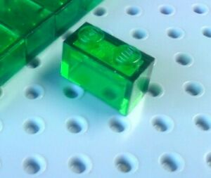 Lego Brick 1x2 Without Centre Pole [3065] Trans Green x4