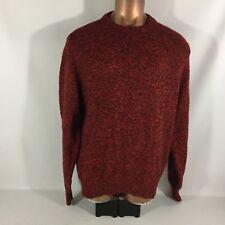 Lands' End Men's Red Heather Long Sleeve XL Long Wool Blend Crewneck Sweater USA