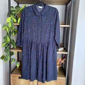 Hush Size 12 Navy Blue Star Print Shirt Tunic Dress with Pockets