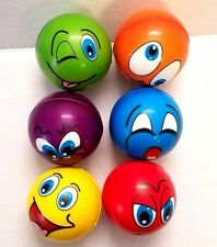 6 Soft PU Mini Sports Balls Kids Toy Colors Silly Face Faces 3.5inch