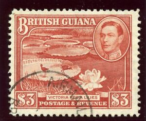 British Guiana 1946 KGVI $3 bright red-brown (p12½) very fine used. SG 319a.