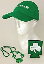 � New 3-Pc Budweiser Promo Kit ~ New Cap ~ New Koozie ~ New Beads St Patrick's