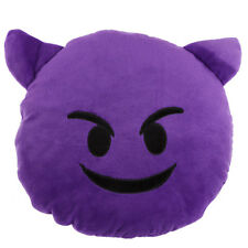 Angry Devil Purple Emoji Novelty Emotive Cushion