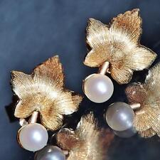 14k yellow gold earrings 3mm pearl leaf studs 1920's Antique handmade  1.4gr
