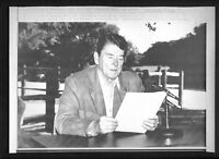 Vtg AP Wire Photo President Ronald Reagan Giving Radio Broadcast From Ranch 1987