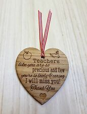 Teachers Heart Thank You Plaque Gift Precious Wooden Hanging Heart Shabby Chic