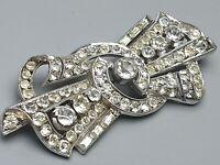 Große Art Deco Silber Brosche Schleife 800 Silber Steinbesatz Vollbesatz /A450