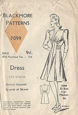 """1940s Jahre Vintage Näh Muster Kleid B32 """" (47)"""