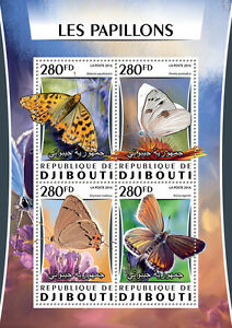Djibouti 2016 MNH Butterflies 4v M/S Papillons Insects Butterfly Stamps