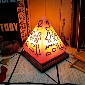 Hand engraved Egyptian hieroglyphs pyramid Himalayan salt lamp healing lonizing