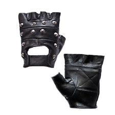 Genuine Leather Fingerless Studded Gloves Motorcycle Biker Riding Racing Black