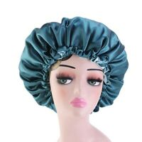 Reversible Satin Bonnet Double Layer Sleep Night Cap Head Cover Bonnet Hat UK
