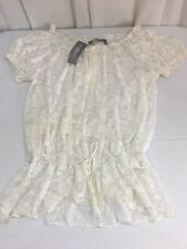 NWT NY COLLECTION WOMAN Full Lace Top Blouse 2X Ivory Short Sleeve Retail $48.00