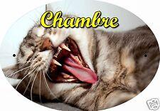 PLAQUE DE PORTE OVALE RIGIDE CHAT CHATON REF114 personnalisée  prénom CHAMBRE