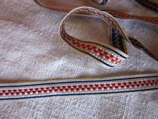 Ruban tissé ancien 1930 bleu blanc rouge 2,0 m x 0,8 cm