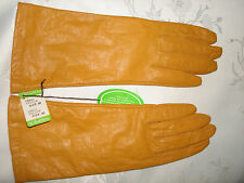 "Vintage Color Tan Saddle 10.5"" Long Tricot Linning Soft Genuine Leather Gloves M"