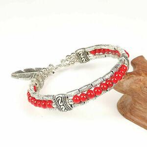 Ladies Jewelry Tibetan Silver Bracelet Red Turquoise Bead Bangle Woman Bracelet