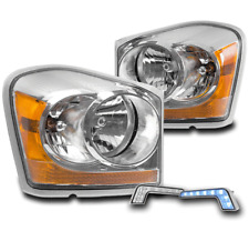 2004-2005 DODGE DURANGO CRYSTAL STYLE CHROME HEADLIGHTS LAMP+BLUE LED BUMPER DRL