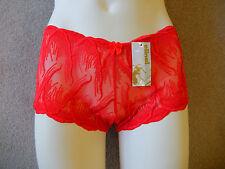 Francés KNICKER, paquete de 3 ,FABRICANTE elinal, Patrón sobre tul, rojo, talla