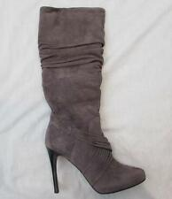 DONALD J. PLINER Etta lead gray suede heels knee high boots hand SIGNED NEW
