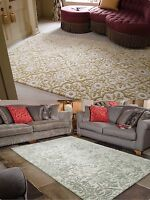 Luxurious Mayfair Wool Hand Carved Rug Gold and Grey in Various size Carpet
