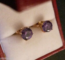 Classic round purple amethyst 7mm diameter 18k gold gf stud earring BOXD Plum UK