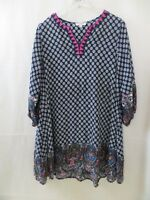 Womens Tunic S Umgee printed navy 3/4 sleeves blouse cotton blend dress