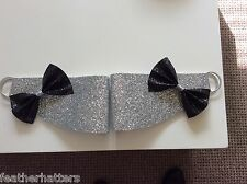 Glitter  Bow Curtain Tie Backs. Pair Black, Red, Silver, Gold, White, Pink