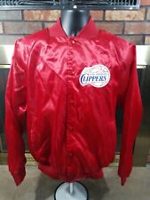Vintage Los Angeles Clippers NBA Basketball Snap Satin Jacket Mens Medium Red