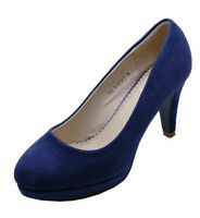LADIES NAVY LOW-HEEL SMART WORK SLIP-ON CASUAL COMFY COURT SHOES SIZES 3-8