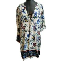 Angela Plus Tunic Top Shirt Popover Size 1x 2x ? 3/4 Roll Tab Sleeve Rayon Flowy