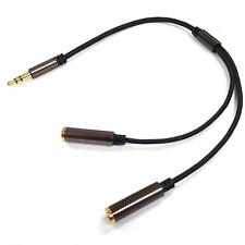 3.5mm Headphone Splitter Jack Male to 2 Dual Female Audio-In Stereo Cable Lead