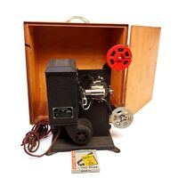 Vintage 8mm Projector 1930's Stewart Warner Movie Film Wooden Case Not Tested