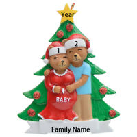 MAXORA We're Expecting Personalized Pregnant Bear Family Christmas Ornament