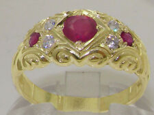 & Diamond Vintage Style Band Ring Solid 9K Yellow Gold Natural Ruby