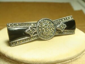 sterling silver brooch pin black onyx art deco style 925 bar marcasite jewelry