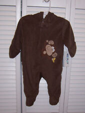 WEEPLAY Infant Baby Fleece One Piece with Hood Monkey Size 3-6 Months Brown