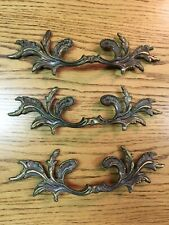 3 Vintage French Provincial Ornate Drawer Pulls Furniture Brass Handles