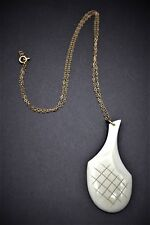 Artisan Original Hand Crafted Carved Ivory Pendant With Brass Chain Circa 1980's