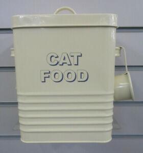 Lesser & Pavey Cream Tin Cat Food Container with Scoop : LP22218
