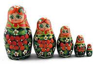 Matryoshka Wooden Nesting Dolls with Flowers Daisies Chamomiles Handmade Art 5pc