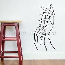 Elegant Woman Girl Hands Beauty Salon Shop Wall Decals Nail Art Window Stickers