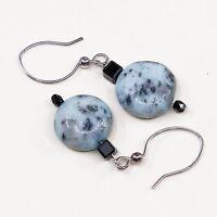 Vtg Sterling Silver Handmade Earrings, 925 Silver Hook W/ Round Jasper