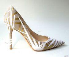 NIB $775 JIMMY CHOO 'Abel' gray beige gold pointy toe stiletto shoes 38.5 8.5