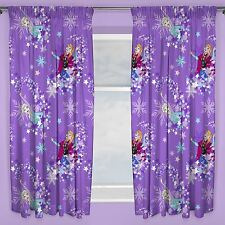 "DISNEY FROZEN SNOWFLAKE PURPLE CURTAINS 54"" DROP CHILDRENS KIDS READYMADE"